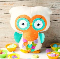 PDF pattern.Rainbow owl. Plush toy Pattern Softie by Noialand, $7.00