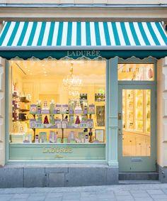 Ladurée | Ladurée Shops #blue #awning #stripes #shop #window #store #front