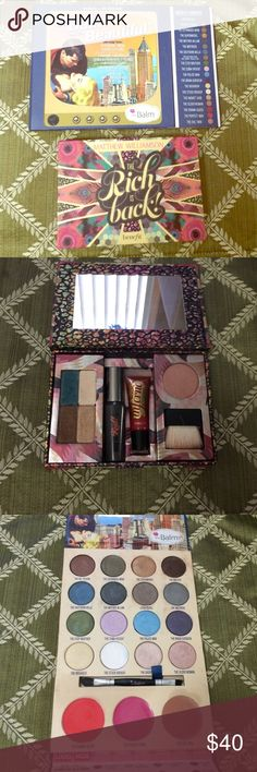 Benefit the Rich is Back! / Balm palette set Benefit the Rich is Back! / the Balm and the beautiful palette set. The Rich is back set was used once the lipgloss is new the mascara about half was used. The Balm and the a beautiful palette was used a few times and is in great condition! Really great set. Authentic! Benefit Makeup Eyeshadow