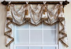 The simple elegance of our Florence Victory Swag is embraced by an ornamental scroll motif on faux silk in the color Ivory. Kitchen Window Coverings, Valance Window Treatments, Kitchen Valances, Custom Window Treatments, Kitchen Windows, Hanging Drapes, Drapes And Blinds, Types Of Curtains, Drapes Curtains
