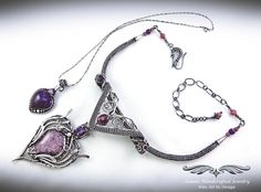 """""""Allure"""" – Elegant Six-in-one Pendant Necklace Set w/ Lepidolite & Amethyst in Fine Silver features three separate pendants & two chains that can be worn in a variety of ways, at least six separate possibilities or as unlimited as your imagination! Wire Wrapped Jewelry, Wire Jewelry, Anklet Bracelet, Bracelets, Fashion Jewelry Necklaces, Best Jewelry Stores, Necklace Set, Pendant Necklace, Contemporary Jewellery"""