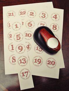 Advent calendar numbers printable
