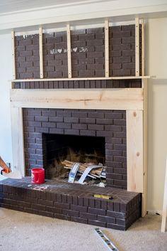 Fireplace Makeover • Le Bois Home Reface Brick Fireplace, Brick Fireplace Remodel, Red Brick Fireplaces, Fireplace Frame, Fireplace Update, Brick Fireplace Makeover, Fireplace Hearth, Home Fireplace, Fireplace Surrounds