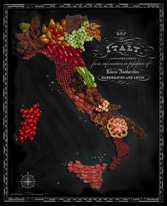 Food stylist Caitlin Levin and photographer Henry Hargreaves have collaborated on a series of food-based country maps composed of signature national ingredients. The typography is by Sarit Melmed. Italy of tomatoes.