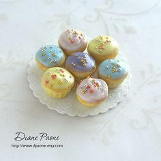 Easter Cupcakes on a Platter  Dollhouse Miniature Food by dpaone, $28.00