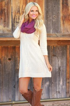 Meeting The Parents Sweater Dress - Oatmeal from Closet Candy Boutique
