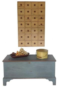 19th century hanging Apothecary with a beautiful robin egg blue Blanket Chest
