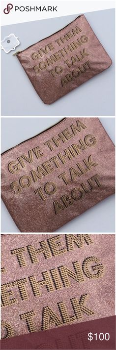 """Pink Glitter Zip Top Clutch NWT """"Give Them Something To Talk Talk About"""" in gold on sparkly pink glitter, padded and lined. Perfect for a night out or lunch with the girls, exposed gold zip top, large enough to carry your essentials, 10.75"""" x 8"""", NWT, (BB1 Bags Clutches & Wristlets"""