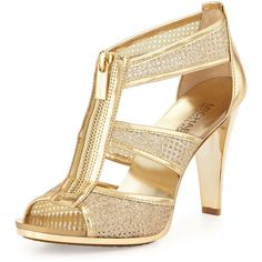 MICHAEL Michael Kors Berkley Metallic Zip-Front Sandal ($99) ❤ liked on Polyvore featuring shoes, sandals, pale gold, polish shoes, open toe high heel shoes, open toe sandals, golden shoes y caged shoes
