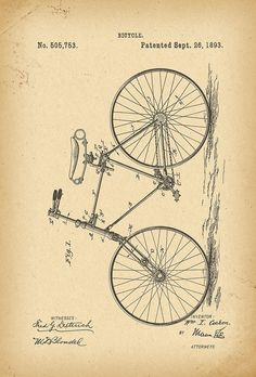 1893 Patent Velocipede Bicycle history invention by Khokhloma