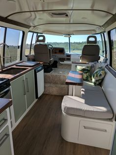 Photo 8 of 13 in Two Carpenters Turn a 1976 GMC Motorhome Into a Woodsy Wonder on Wheels - Dwell Toyota Motorhome, Mini Motorhome, Vintage Motorhome, Motorhome Interior, Vintage Rv, Van Interior, Vintage Travel Trailers, Vintage Campers, Gmc Motors