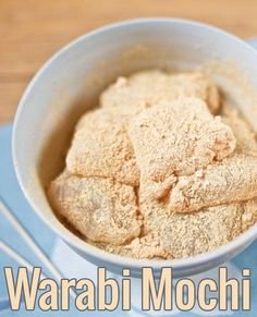 Warabi Mochi: My favorite kind of Japanese mochi, dusted with delicious kinako (roasted soy powder)! Very popular in hot weather in Japan.