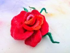 Hand made felted. Ready to go. Happy Birthday Rose, Birthday Roses, Rose Gift, Ready To Go, Flower Delivery, Flower Brooch, Needle Felting, Brooches, Beautiful Flowers