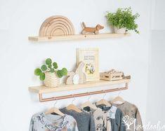 Rod shelf + plain shelf, set of nursery shelve with rack, shelf with wooden bar, floating shelf, wal Oak Wall Shelves, Cloud Shelves, Nursery Shelves, White Shelves, Wooden Shelves, Wooden Ladder, Shelf Wall, Floating Shelf Brackets, Floating Shelves