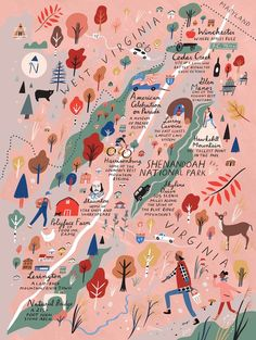 Our favorite things to see and do in Shenandoah—including scenic drives, great small towns, panoramic hikes, cool caverns, and fun museums. Shenandoah National Park, Shenandoah Valley, Travel Illustration, Flat Illustration, Map Design, City Maps, Fine Art Paper, Planer, Digital Illustration