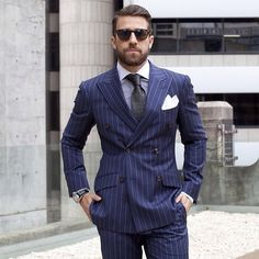 And it is sometimes referred to as an italian style suit. double breasted suits are sometimes favored by taller men, as they usually allow for a Blue Suit Men, Suit Up, Mens Dress Outfits, Men Dress, Mens Fashion Suits, Mens Suits, Men's Fashion, Fashion Menswear, Italian Style Suit