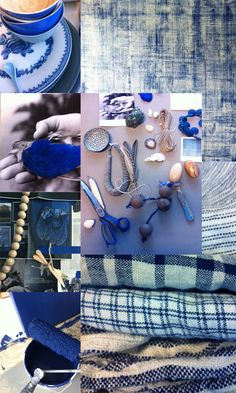 "Bohme// could put together story boards of lifestyle shots to print out for seasons for store front windows, Etc. It sets the tone for the behind the scenes fashion. Anthropologie moment. A little glimpse into fermandas journey to bring forth these ""looks""   blue hues from Elle Decor Norway"