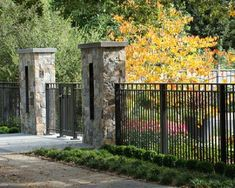 Cheap Iron Fencing | ... fence ideas lovely wrought iron fence front yard with stone pillars