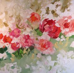 Floral Landscape Original Painting Abstract or Impressionist Art Red Pink Roses Acrylic Painting by Linda Monfort