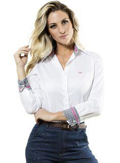 camisa branca manga longa principessa vanda Camisa Social Feminina 0201d76a71ceb