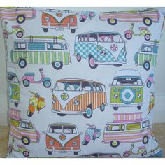 26x26 Zippered Euro Sham Pillow Cover VW Campervans by pipdesigns
