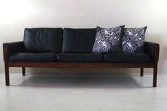 AP-62 black leather sofa by Hans Wegner for A P Stolen