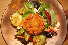 Pan Seared Crunchy Rice Cakes over Salad Recipe dinner healthy meal flavor vegetarian
