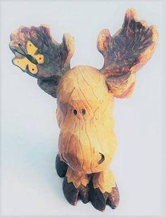 Vintage Hand Carved Wood Moose folk art moose statue with