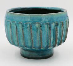PHILIP LEACH (GRANDSON OF BERNARD LEACH) |  Faceted Teal Tea ceremony Bowl. Part of the Yunomi Collection. Museum Quality. These pieces were exhibited in two international museum shows and published in their catalogs.