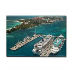 Cruise Ships - Rectangle Magnet  This is a photo in Nassau, Bahamas. Paradise Island is in the background with the Atlantis Resort and Beaches.