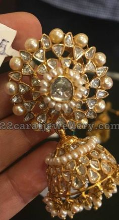Pretty Diamond Jhumkas by Mangatrai