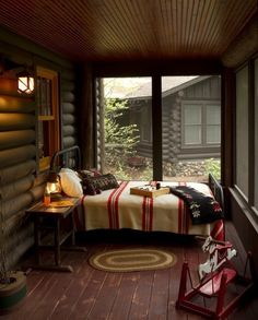 Cozy cabin bedroom room home decor winter bed cozy design interior