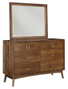 Amish Phoenix Six Drawer Dresser with Optional Mirror Mid century modern dresser for bedroom. The Phoenix is built in the solid wood, finish and hardware of your choice. #bedroom #bedroomdresser #chestofdrawers