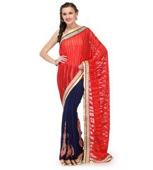 Maroon and Navy Blue Brasso and Faux Georgette Half and Half Saree