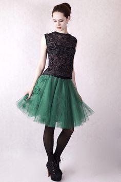 Petticoat & Unterrock - NARA® Tüllrock, mit Blümchen Applikation - ein Designerstück von Berlinerfashion bei DaWanda