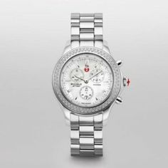 Michele Jetway Stainless Steel Ladies Watch MWW17C000007 Michele. $1399.00. Polished Stainless Steel case. Polished Stainless Steel band. Battery Operated Quartz movement. White Mother of Pearl dial. 39mm case dimension