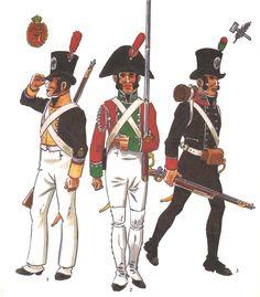 Tropas Andaluzas creadas durante la Guerra de Independencia: 1 - Cabo de los Batallones de Línea de los Voluntarios Distinguidos de Cádiz en uniforme de campaña en verano 1808-14 2 - Voluntario de los Batallones de Línea en uniforme de parada 1808-14 3 - Voluntario de los Batallones Ligeros 1809