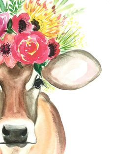 Art And Illustration, Watercolor Fruit, Watercolor Paintings, Cow Canvas, Canvas Art, Cow Wallpaper, Corona Floral, Canvas Painting Tutorials, Cow Painting