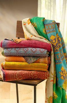 10pc VINTAGE KANTHA QUILT Blanket Throw Made door JaipurHandloom