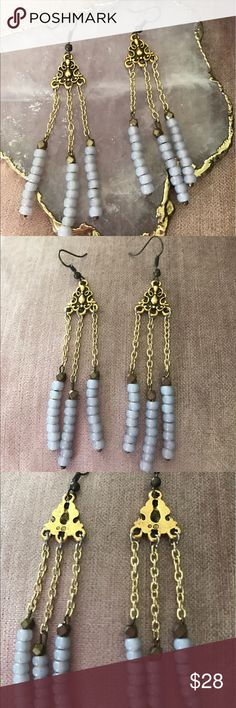 Just In 🌷beautiful chandelier earrings Beautiful earrings with light blue beads chandelier style for pierced ears, stamped with designer logo Jewelry Earrings