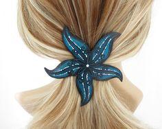 Turquoise Starfish Hair Barrette Starfish Hair by AmysLeatherLane