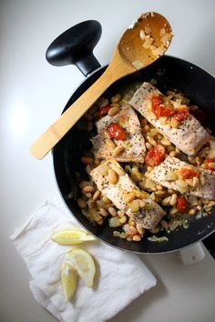 Salmon with Cannellini Beans and Tomatoes is great for dinner parties!