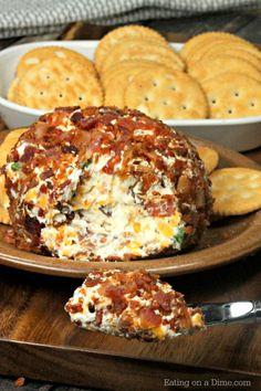 Bacon Ranch Cheese Ball Recipe - Easy Appetizer - Bacon Cheese Ball Need an easy appetizer recipe? Try this bacon ranch cheese ball recipe! You are going to love this easy bacon cheese ball recipe. It is the best! Bacon Appetizers, Easy Appetizer Recipes, Snack Recipes, Cooking Recipes, Bacon Recipes, Dip Recipes, Easy Recipes, Bacon Ranch Cheese Ball Recipe, Cheese Ball Recipes