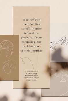 I really like these exquisite illustrations. To convey feelings just a few lines are enough. Several lines which described a huge story. I hope you will appreciate this amazing collection of 10 elegant one line illustrations made with love. Wedding Invitation Design, Wedding Stationary, Graphisches Design, Logo Design, Line Sketch, Layout, Stationary Design, Line Illustration, Illustrations