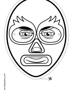 Color in this blank wrestler mask before your next match and you're sure to bear your opponents! Luchadors often have brightly colored masks, so use your imagination in your design! Free to download and print