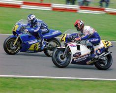 Christian Sarron  Sonauto Gauloises Yamaha  Randy Mamola  Rothmans Honda Mamola  1985 British 500cc GP