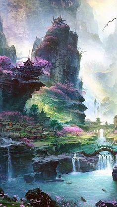 Colors, structures in nature, epic illustration fantasyscape Fantasy Concept Art, Fantasy Artwork, Fantasy Places, Fantasy World, Fantasy Landscape, Landscape Art, Fantasy Setting, Landscape Drawings, Anime Scenery