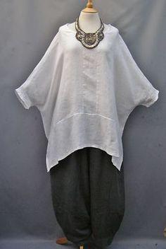 Ella Moda~ WHITE~ Versatile ~Linen OVERSIZED Top ~10-26 | eBay