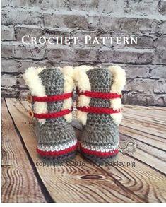 Work Sock Winter Booties PDF CROCHET PATTERN by OnePaisleyPig