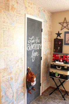 Cover any wall in vintage maps to create visual interest. Feel free to stick push pins in all of the places your have visited!